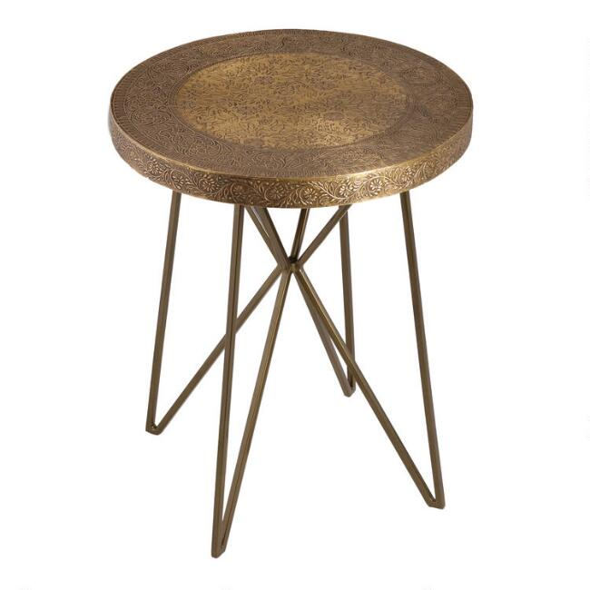 Gold Metal Clad Mandala Accent Table