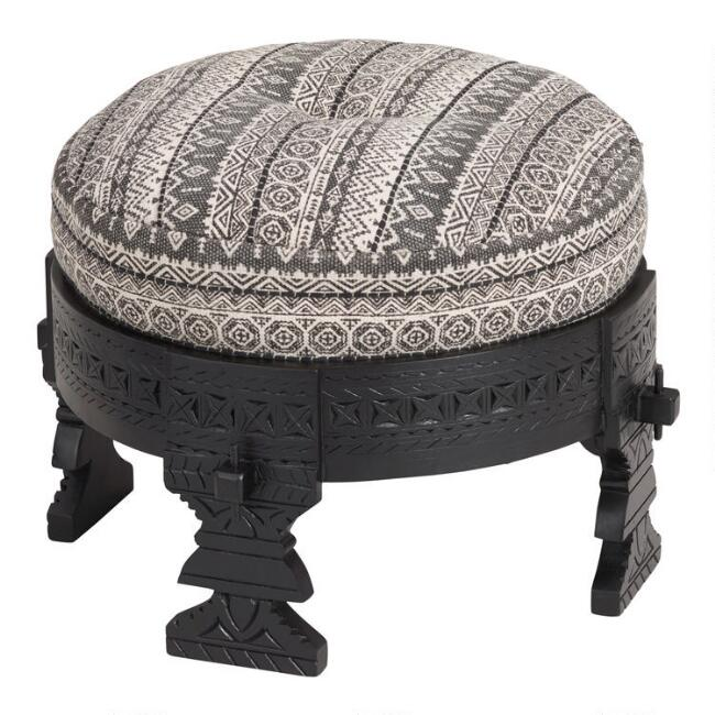 Black Bajot Stool with Black and White Pouf
