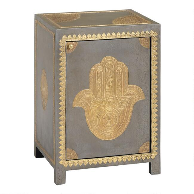 Gray Wood and Brass Hamsa Cabinet
