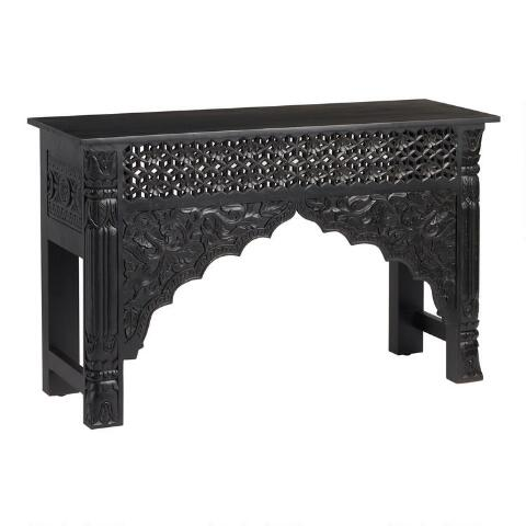 Black Carved Wood Console Table