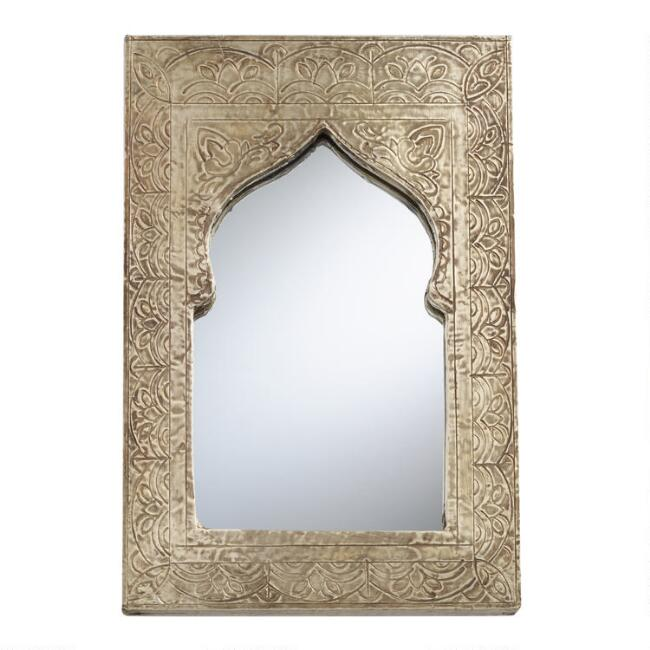 Embossed Metal Arch Tabletop Mirror