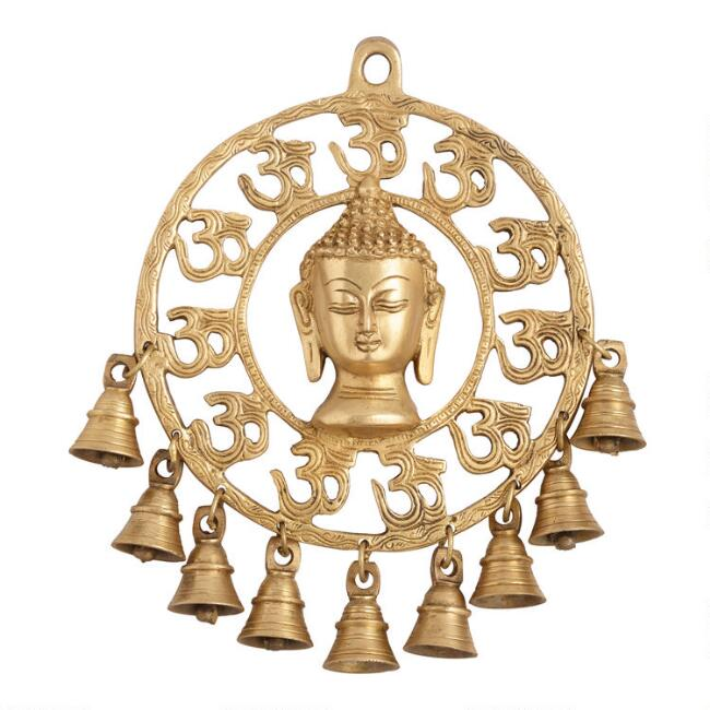 Brass Buddha Head with Bells Hanging Decor