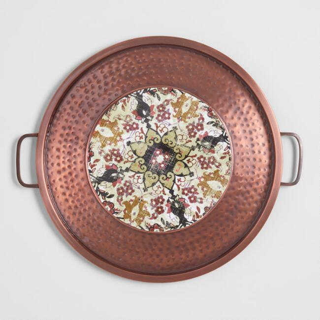 Round Antiqued Copper Medallion Serving Tray