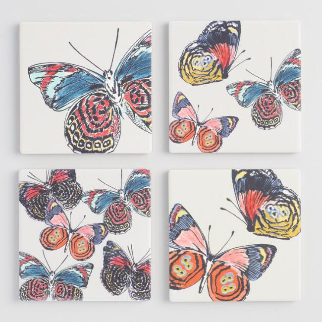 Ceramic Butterfly Coasters 4 Pack