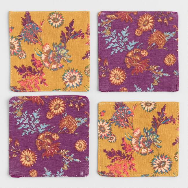 4 Pack Floral Fabric Coasters Set of 2