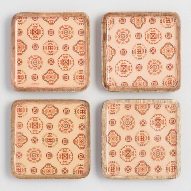 Square Terracotta Sunbaked Wood Coasters 4 Pack