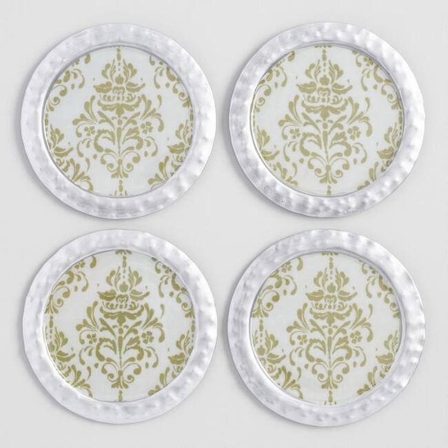 Silver Hammered Metal Sanctuary Coasters 4 Pack