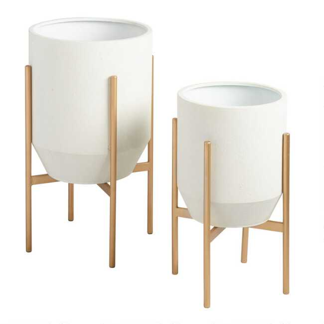 Shop Tapered Ivory Planter With Gold Stand from World Market on Openhaus