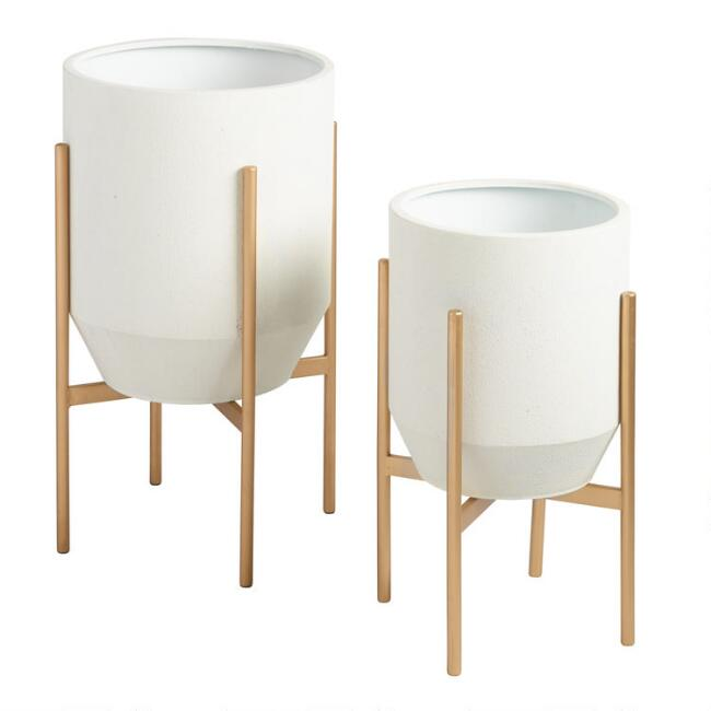 Mid Century Modern Tapered Ivory Planter with Gold Legs