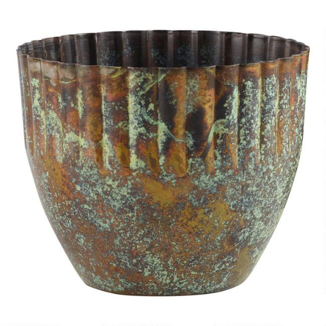 Aged Brass Patina Metal Planter