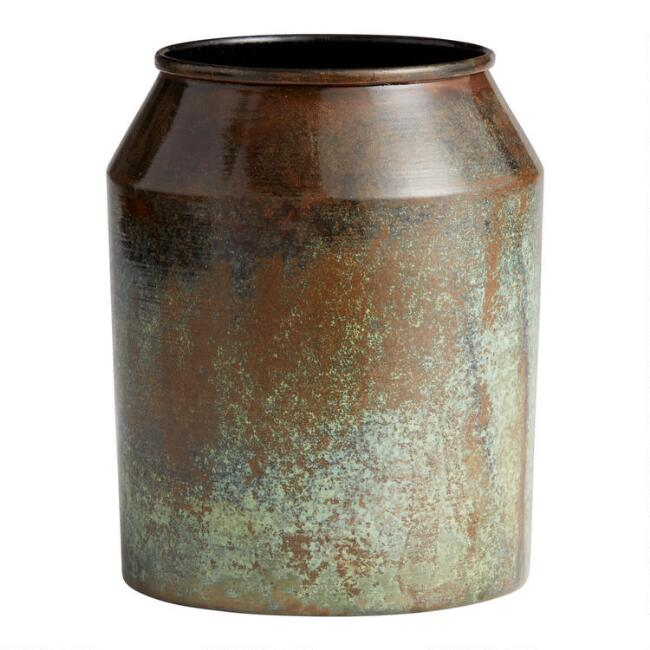 Aged Brass Patina Metal Vase