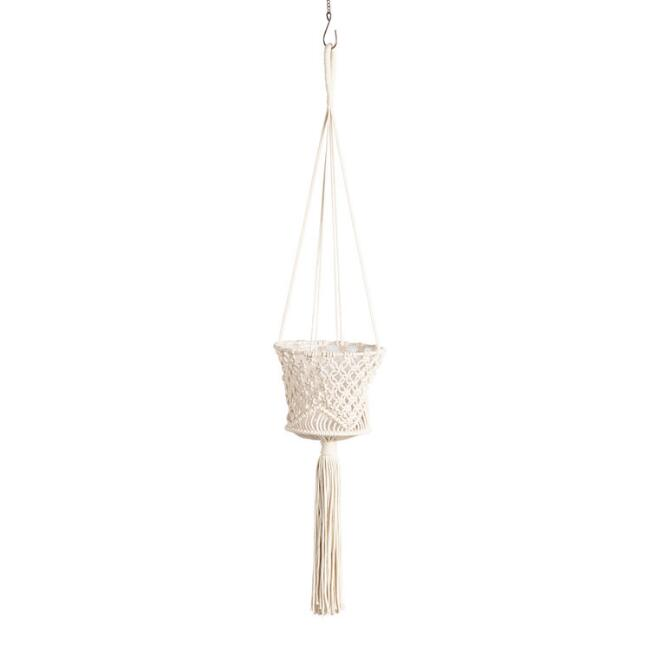 Cotton Macrame Basket Plant Hanger