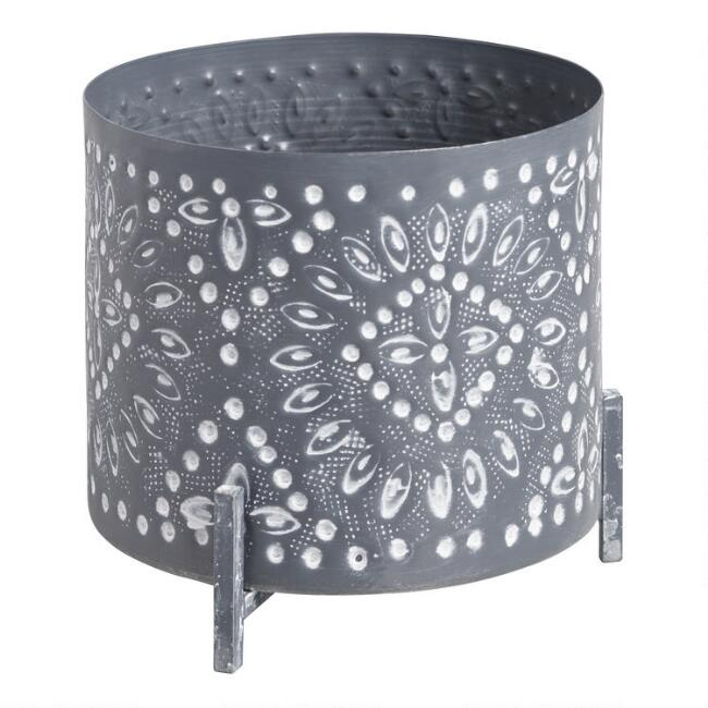 Embossed Iron Planter With Stand