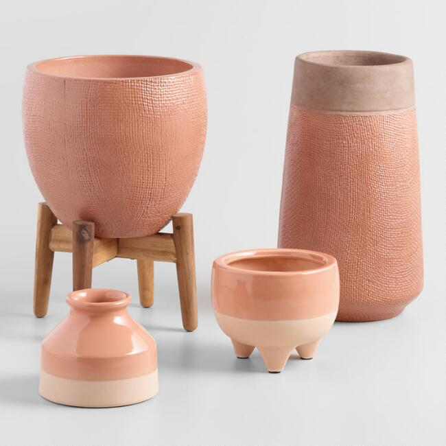Burnt Coral Ceramic Vase And Planter Collection