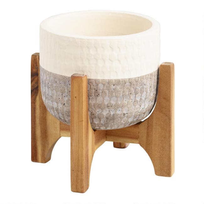 Ivory And Gray Two Tone Ceramic Planter With Wood Stand