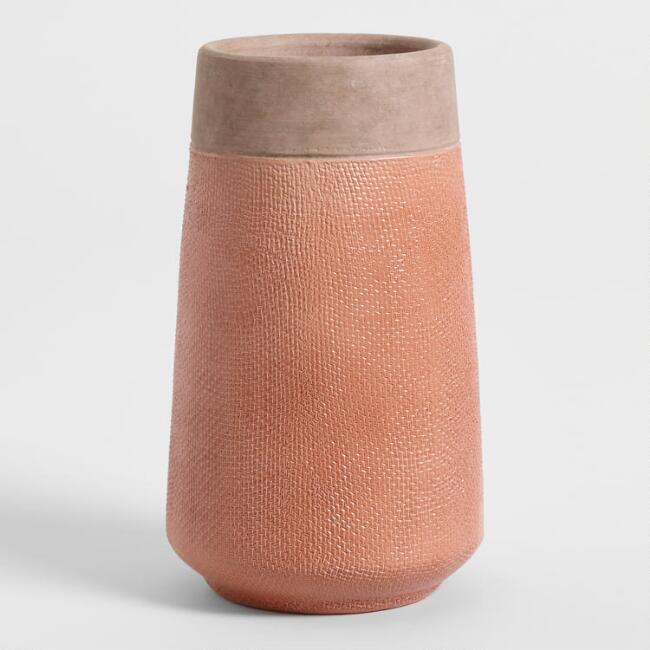 Tall Burnt Coral Textured Ceramic Vase