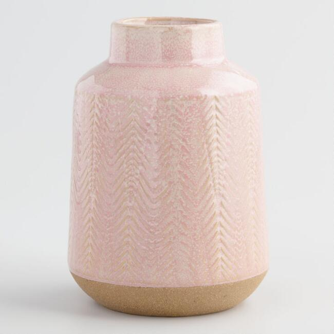 Rose Herringbone Reactive Glaze Ceramic Vase