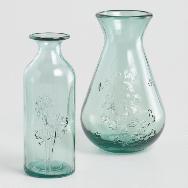 Green Embossed Floral Recycled Glass Vase