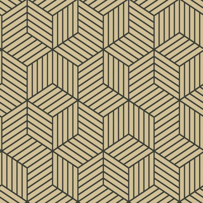 Gold And Black Hexagon Peel and Stick Wallpaper