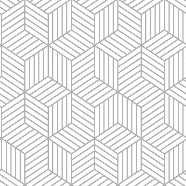 White And Gray Hexagon Peel and Stick Wallpaper