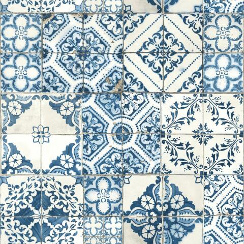 Blue Mosaic Tile Peel And Stick Wallpaper World Market