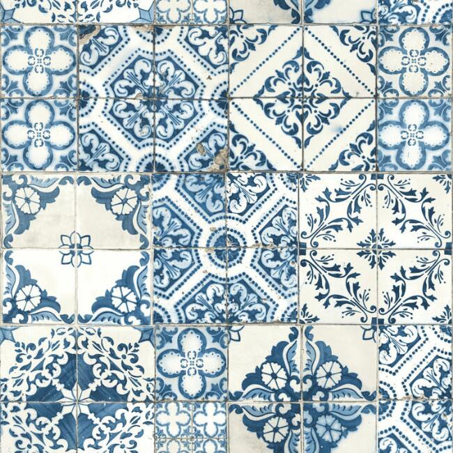 Blue Mosaic Tile Peel and Stick Wallpaper