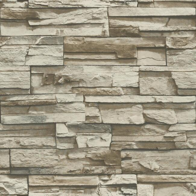 Gray And Beige Stacked Stone Peel And Stick Wallpaper