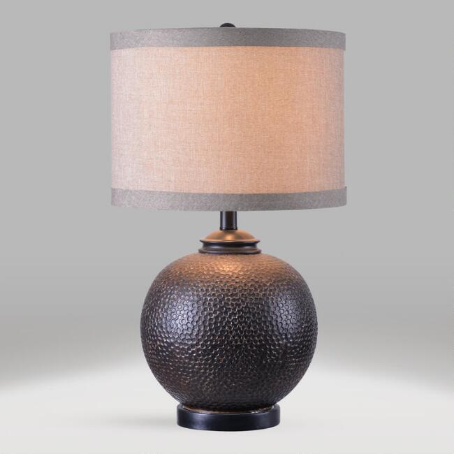 Hammered Bronze Orb Accent Lamp and Shade Set