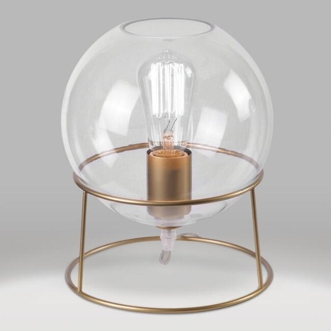 Gold Metal and Glass Orb Accent Lamp