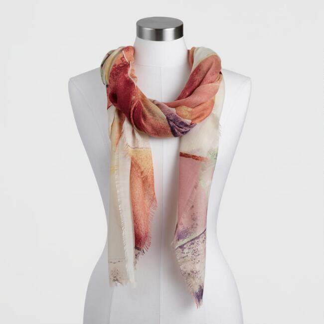 Pastel Sunset Abstract Watercolor Scarf