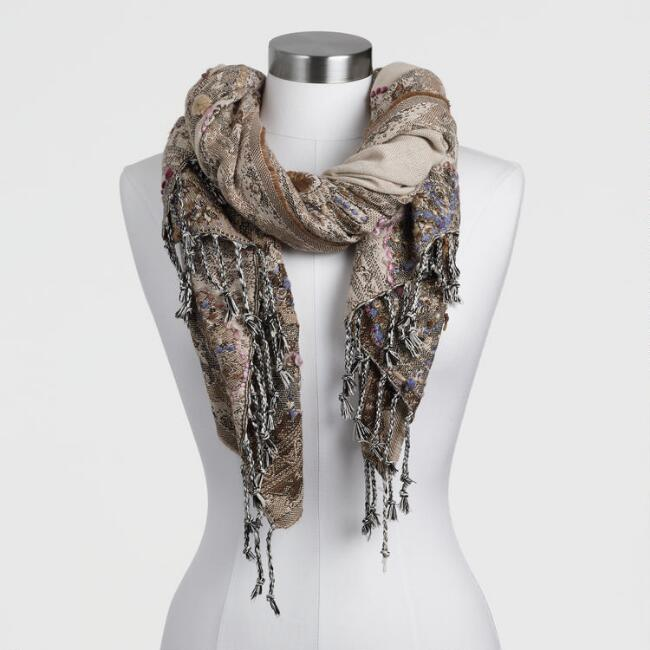 Pastel Paisley Floral Overstitch Scarf