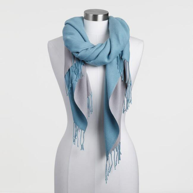 Reversible Gray and Dusty Blue Blanket Scarf