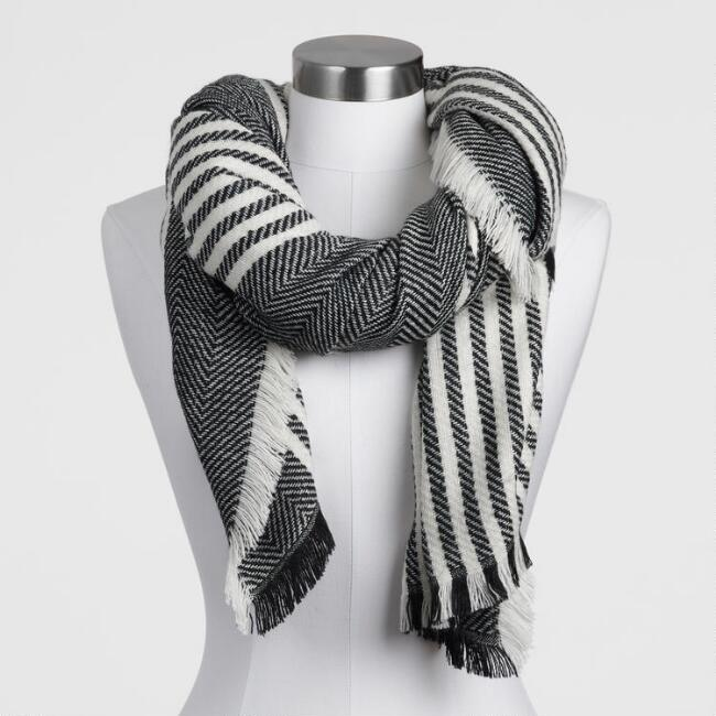 Oversized Black And White Striped Blanket Scarf