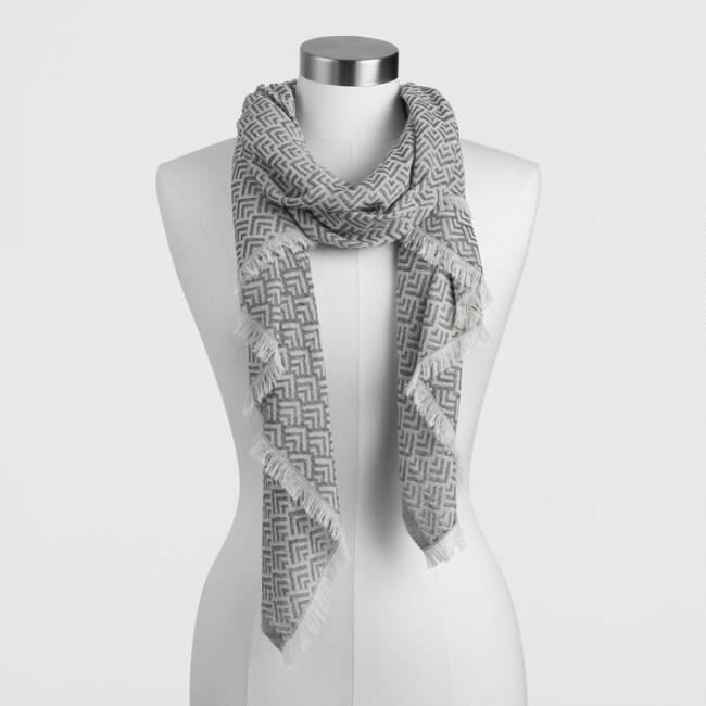 Charcoal and White Geometric Chevron Scarf