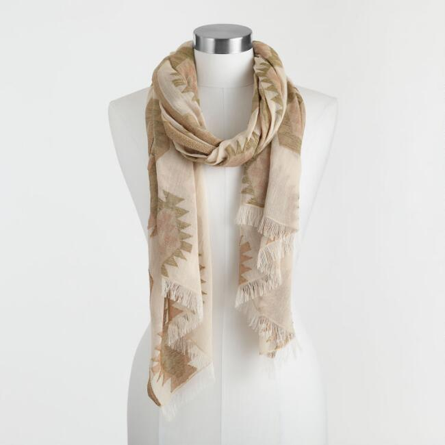 Ivory, Sage Green And Terracotta Southwest Scarf