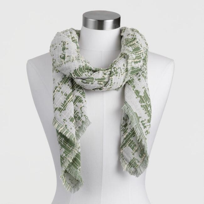 Agave Green and Ivory Textured Overstitch Scarf
