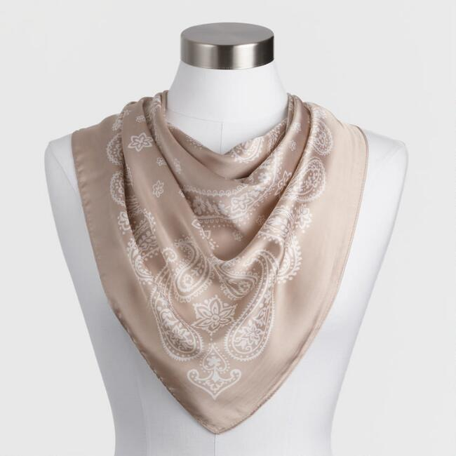 White And Tan Paisley Satin Bandana