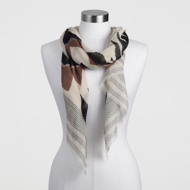 Black, Brown and Ivory Southwest Mesa Scarf