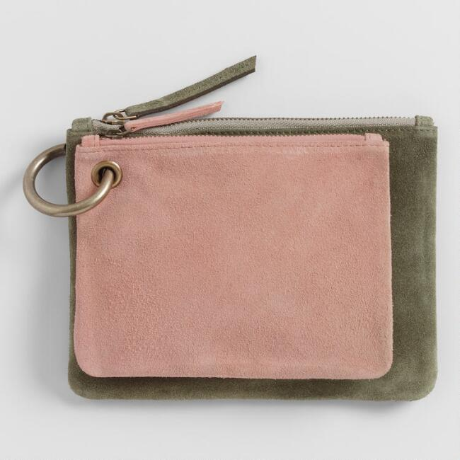 Sage And Blush Suede Pouches 2 Piece Set