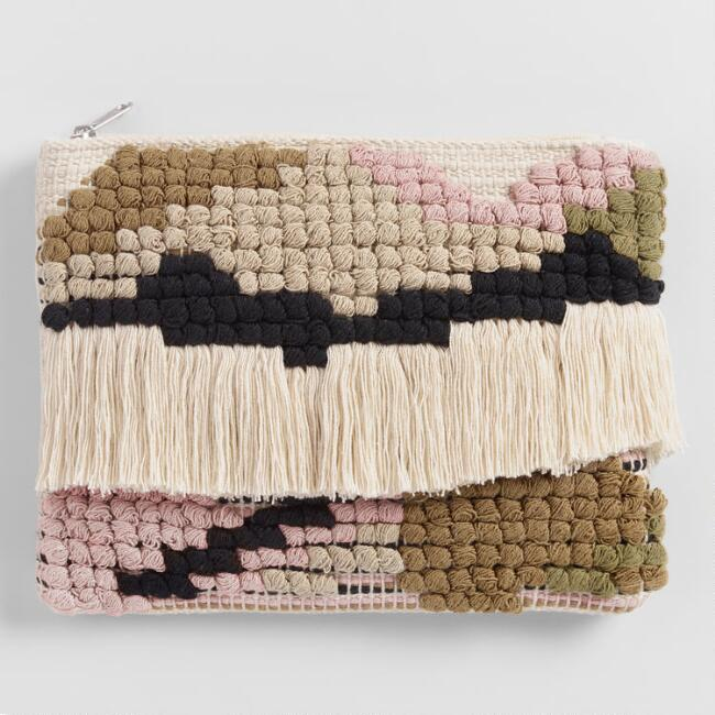 Neutral Abstract Fringe Indio Pouch