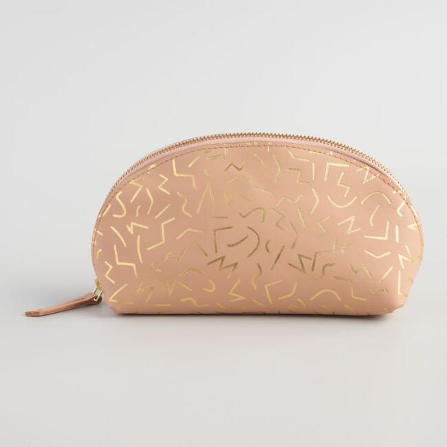 Blush and Gold Abstract Line Leather Pouch