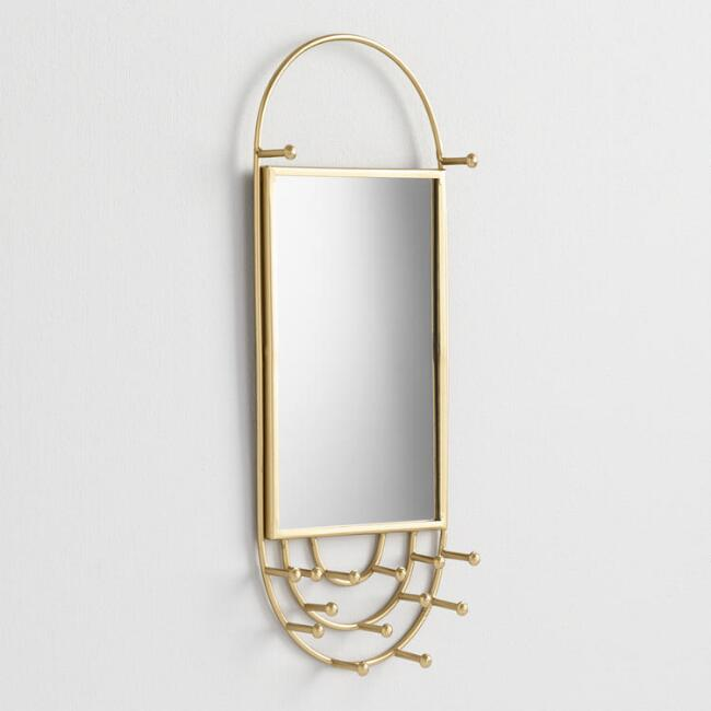 Gold Modern Mirror Wall Jewelry Holder