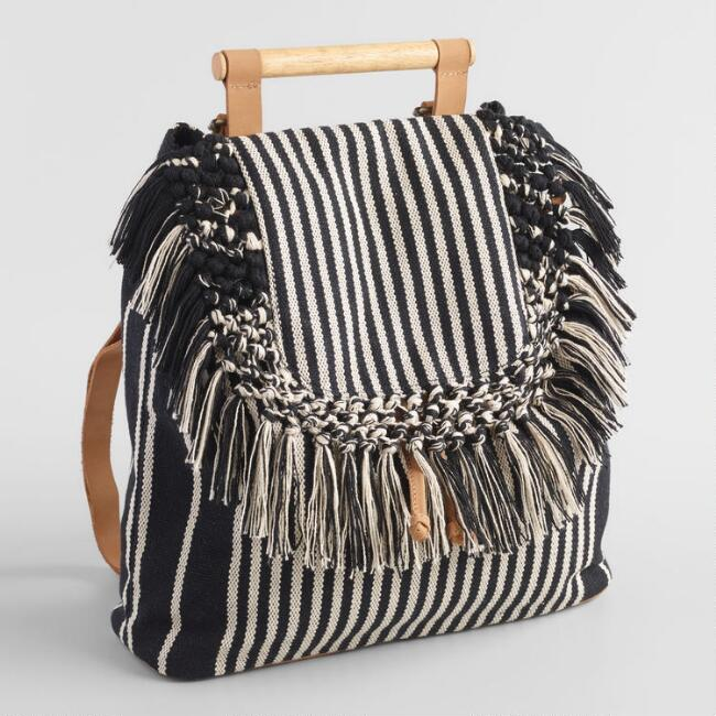 Black And White Stripe Backpack with Wood Handle