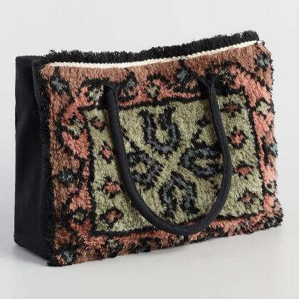 f17e472896 Green And Terracotta Nomad Carpet Tote Bag
