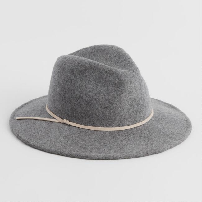Heathered Gray And Tan Trim Wool Rancher Hat