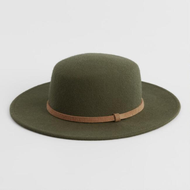 Olive Green Wool Flat Top Hat