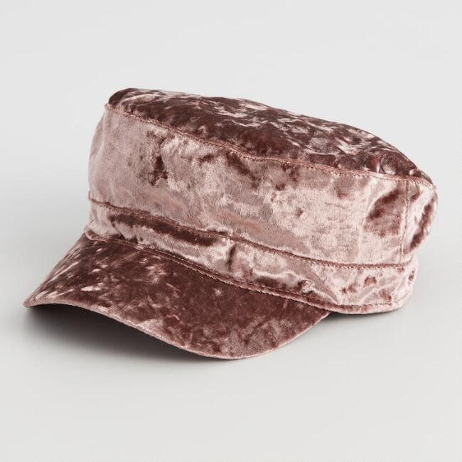 Mauve Crushed Velvet Newsboy Hat