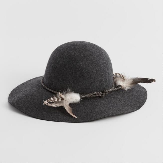 Charcoal Feather Wool Floppy Hat