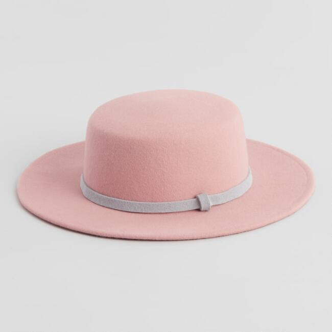 Blush And Gray Trim Wool Flat Top Hat