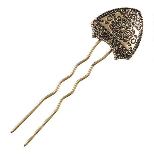 Antiqued Gold Abstract Etched Bun Pin